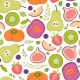 Seamless pattern with healthy fruits Royalty Free Stock Photo