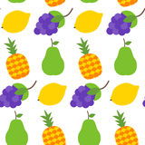 Seamless pattern with healthy fruits over white Stock Image