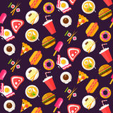 Seamless pattern with healthy and junk food Royalty Free Stock Photo