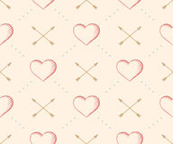 Seamless pattern with heart and arrow in vintage style engraving. On a beige background for Valentine's Day. Hand drawn. Vector Illustration Stock Photo