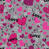 Seamless pattern with Heart an arrow and with word Stock Image