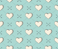 Seamless pattern with heart and arrows in vintage style engraving on a turquoise background for Valentine's Day. Hand drawn Stock Photography