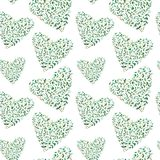 Seamless pattern of a heart of a eucalyptus branches. Stock Photography