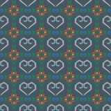 Seamless pattern heart and flower in blue background Royalty Free Stock Photo