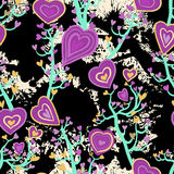 Seamless pattern with heart flowers Royalty Free Stock Photo