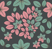 Seamless pattern with heart and flowers with grey background Royalty Free Stock Images