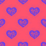 Seamless pattern with heart and lettering Love Stock Images