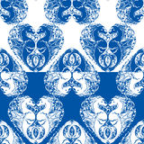Seamless pattern with heart is made of Couple of seahorses. Two Royalty Free Stock Photos