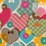 Seamless pattern of heart patchworks and buttons Stock Photos