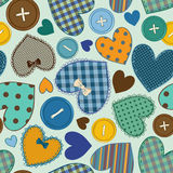 Seamless pattern of heart patchworks and buttons Royalty Free Stock Image
