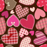 Seamless pattern of heart patchworks Stock Image