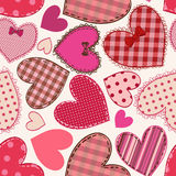 Seamless pattern of heart patchworks Royalty Free Stock Photography