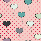 Seamless pattern with heart shaped balloons Stock Photos