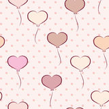 Seamless pattern with heart shaped balloons Royalty Free Stock Image