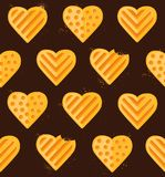 Seamless pattern of heart-shaped cookies Royalty Free Stock Photos