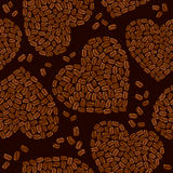 Seamless pattern with Heart shapes are made of cof Royalty Free Stock Images