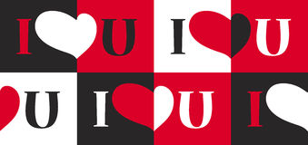 Seamless pattern with heart and text I Love U Royalty Free Stock Photography