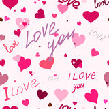 Seamless pattern of the heart. And the text I love you. For printing on packaging, bags, cups, laptop, etc. Vector Royalty Free Stock Photos