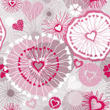 Seamless pattern with hearts. Abstract illustration with ornamented hearts. Vector seamless colorful pattern background Royalty Free Stock Photography
