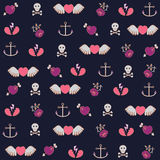 Backround with hearts and anchors Royalty Free Stock Photo