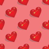 Seamless pattern of hearts with arrow Royalty Free Stock Images
