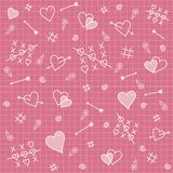 Seamless pattern: hearts, arrows, love relationship. Seamless pattern symbolizing love relationship: heart, arrows, flowers on a pink background Royalty Free Stock Image