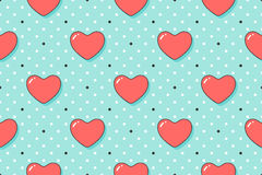 Seamless pattern with hearts and arrows on a turquoise backdrop Stock Photo