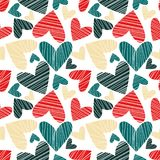 Seamless pattern with hearts. Art can be used for holiday packing: birthday, Happy New Year, Christmas, Valentine`s Day vector illustration