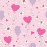 Seamless pattern with hearts, balloons and flowers Stock Image