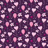 Seamless pattern with hearts, balloons and flowers Stock Images