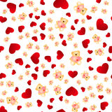 Seamless pattern with hearts and bears. Love background. Hearts background Stock Image