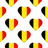 Seamless pattern from the hearts  with Belgium flag. Royalty Free Stock Images