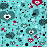 Seamless pattern with hearts and birds Royalty Free Stock Images