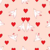 Seamless pattern. Hearts and birds. Valentine`s Day. vector illustration