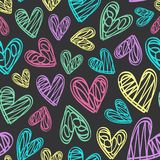 Seamless pattern with hearts on black background. Vector illustration, eps Royalty Free Stock Photography