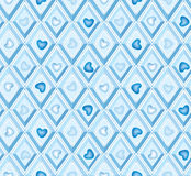 Seamless pattern with hearts and blue diamonds Stock Image