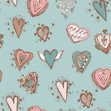 Seamless pattern with hearts. Blue, pink, brown.  Stock Images