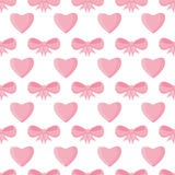 Seamless pattern with hearts and bows for Valentine's Day Royalty Free Stock Photography