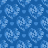 Seamless Pattern, Hearts with Butterflies Stock Photography