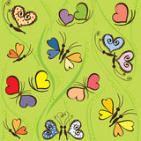 Seamless pattern with hearts and butterflies Stock Photos