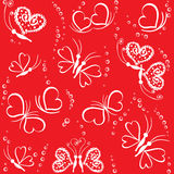 Seamless pattern with hearts and butterflies Royalty Free Stock Photography