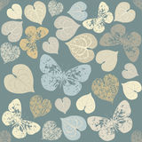 Seamless pattern with hearts and butterfly silhouettes Royalty Free Stock Image