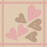 Seamless pattern with hearts buttons and braid Stock Photos