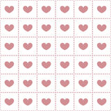 Seamless pattern of hearts in the cells. Seamless pattern of pink hearts in the cells of the circles Royalty Free Stock Photo