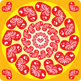 Seamless pattern with hearts in a circle Royalty Free Stock Image
