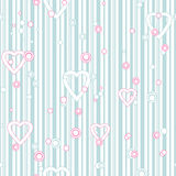 Seamless pattern with hearts and circles on striped Stock Images