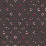 Seamless pattern with hearts and circles. Vector illustration. Seamless pattern with hearts and circles on gray background. Sketched style Royalty Free Stock Photo