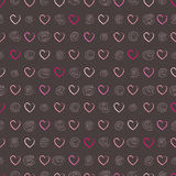 Seamless pattern with hearts and circles. Vector illustration. Seamless pattern with hearts and circles on gray background. Sketched style Royalty Free Stock Image