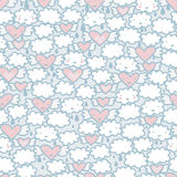 Seamless pattern with hearts and clouds. Royalty Free Stock Photos