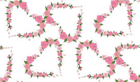 Seamless pattern of hearts consisting of delicate roses Royalty Free Stock Photo